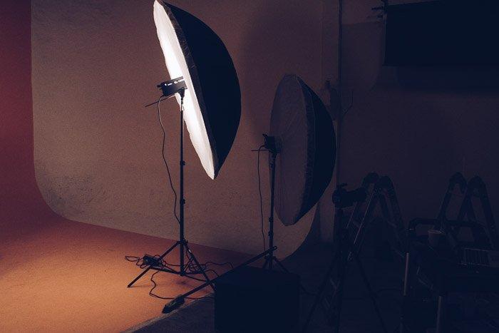 A photography studio setup for shooting portraits