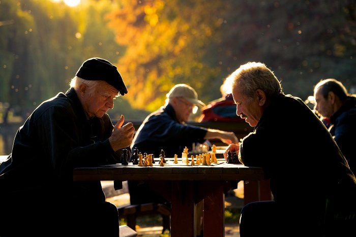 candid portrait of two men playing chess in a park