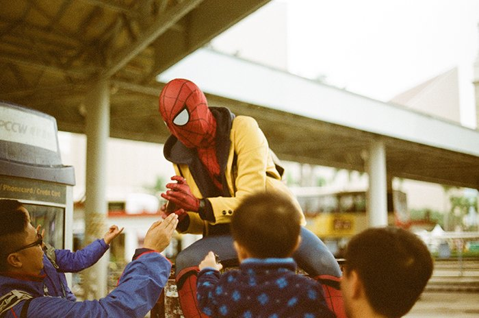 Dreamy cosplay photography of a person dressed as spiderman
