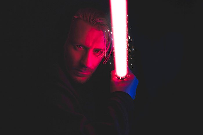 Dreamy cosplay photography of a person dressed as a jedi