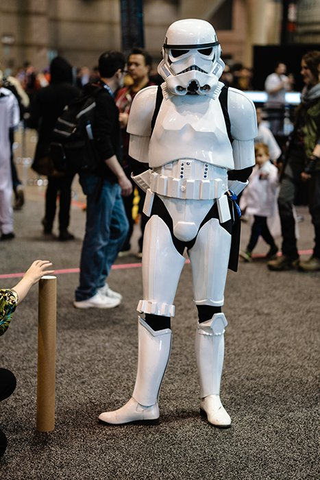 Cosplay photography of a person dressed as a storm trooper