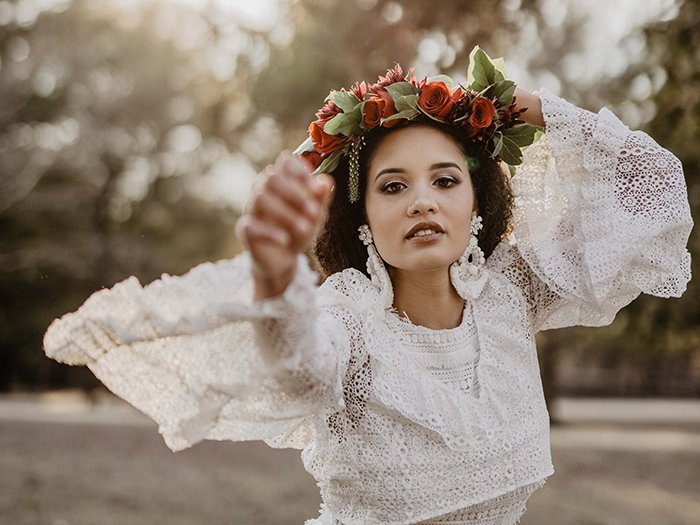 portrait of a female model with flower crown