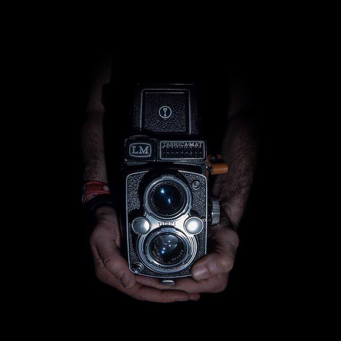 an old iconic TLR medium format camera