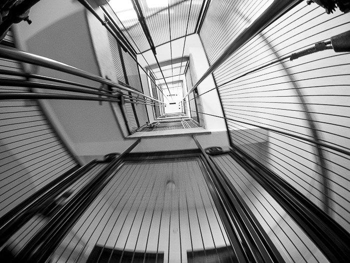 Atmospheric fisheye photo of the interior of an elevator