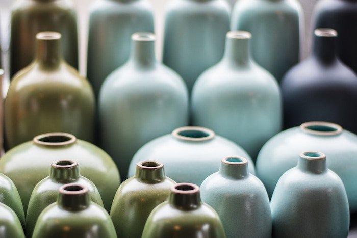 E-commerce phot of many ceramic jugs