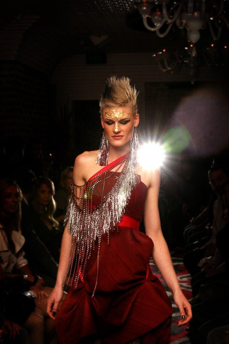 A model on the catwalk during a fashion show