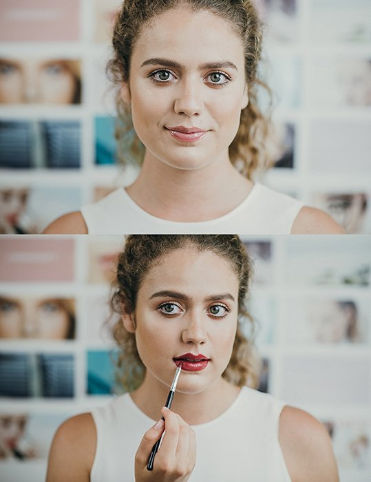 Diptych portrait of a female model posing and applying lipstick for a makeup photography shoot