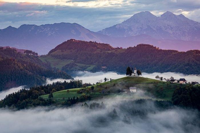 photo of a misty landscape