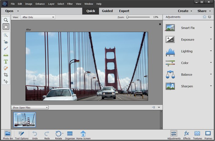 A screenshot from Photoshop Elements, one of the best Photoshop versions