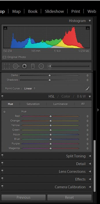 a screenshot showing how to post process macro photography using hsl sliders in lightroom