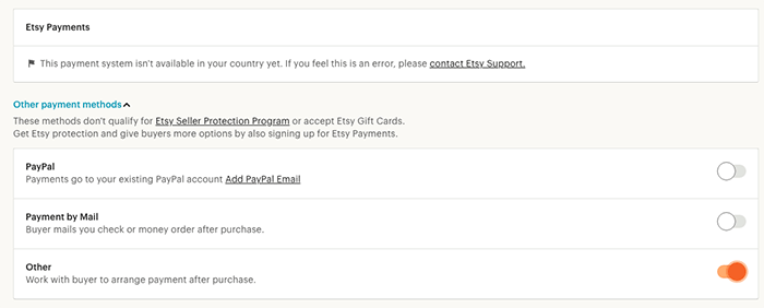 A screenshot of choosing payments to sell photos on etsy