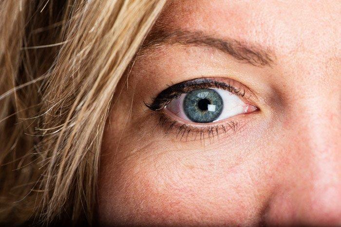 A closeup portrait of a female model shot using softbox lighting