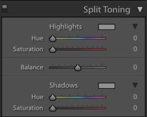 显示如何在Lightroom中使用分割色调的截图