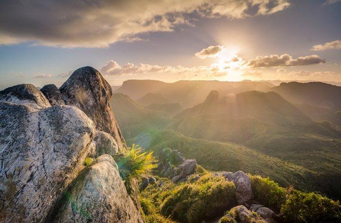 a beautiful mountainous landscape at sunset - stunning landscape photos