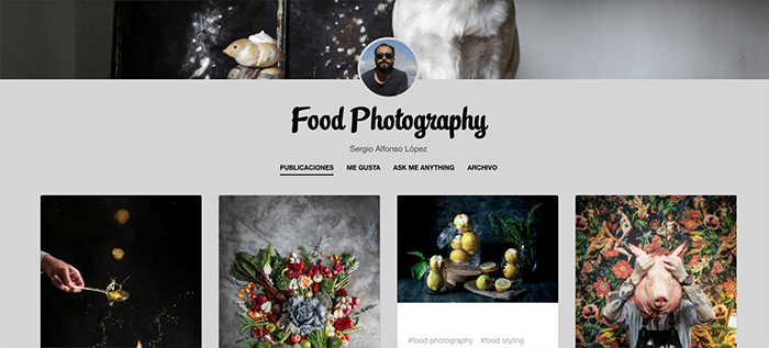 A screenshot from the Food Photography by Sergio Tumblr photography blog