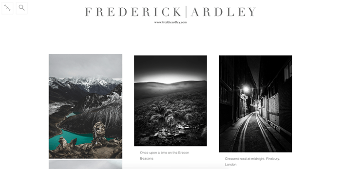 A screenshot from the Frederick Ardley photography blog
