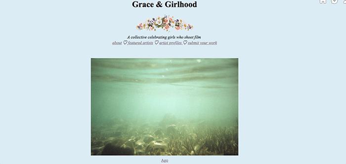 A screenshot from the Grace & Girlhood Tumblr photography blog