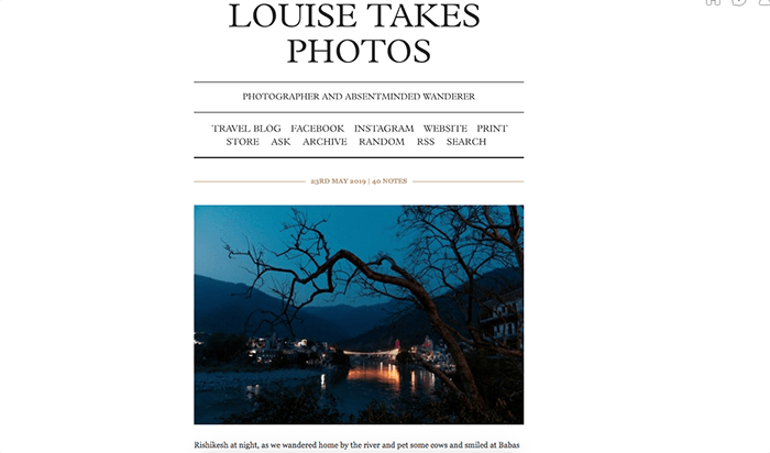 A screenshot from the Louise Takes Photos Tumblr photography blog