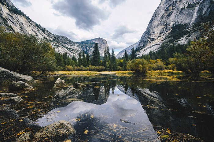 Stunning reflections in Mirror Lake, best locations for yosemite photos