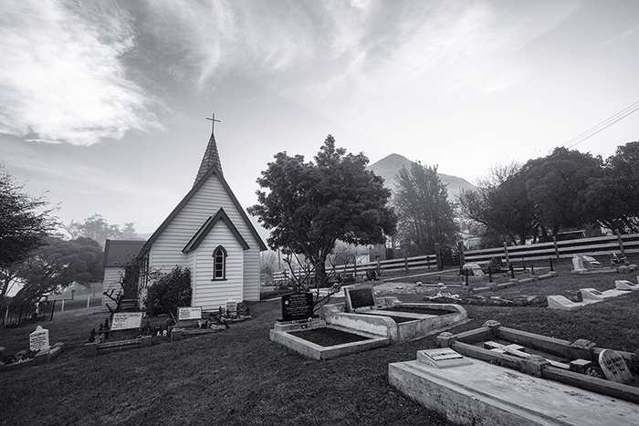black and white photo of the exterior of a church demonstrating the use of tone in photography
