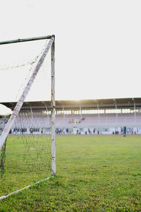 A soccer photography shot of an empty pitch