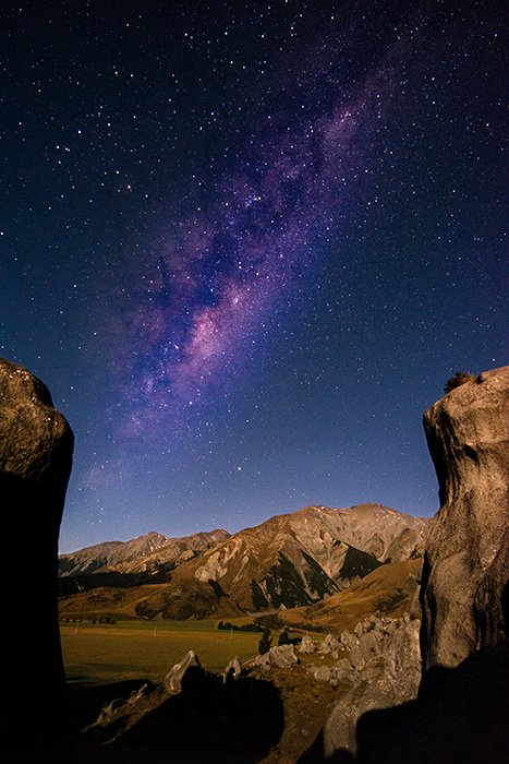 Castle Hill at night, New Zealand photography