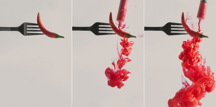 a triptych of a chilli pepper on a fork - setup to shoot colorful paint in water photography