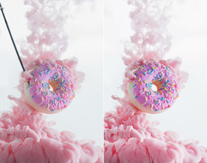 a diptych of pink doughnut and cloud, plus setup to shoot colorful paint in water photography