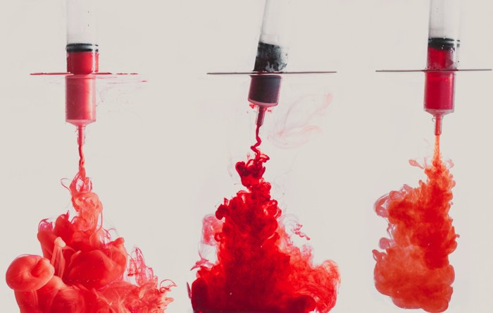 Acrylic paint, ink and a food dye in water.