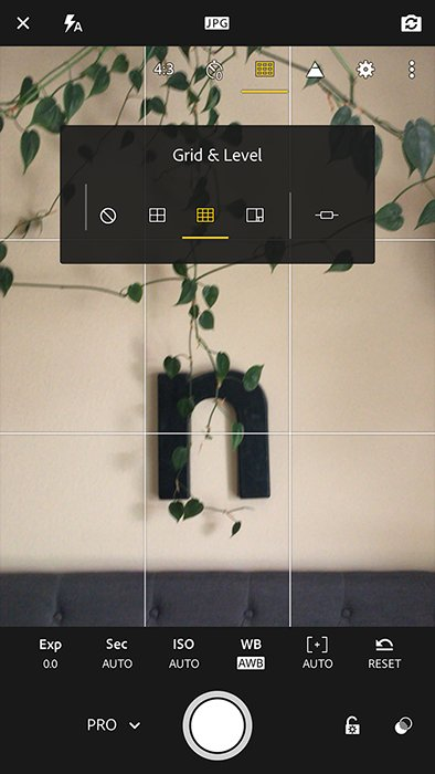 A screenshot of editing with Adobe Lightroom mobile