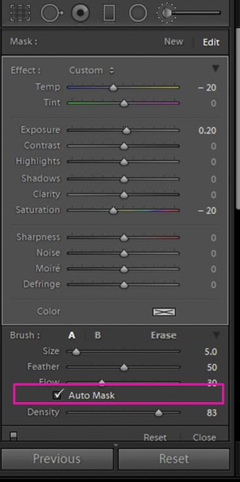 A screenshot showing how to whiten teeth in Lightroom - auto mask