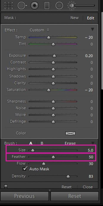 A screenshot showing how to whiten eyes and teeth in Lightroom - size and feather sliders