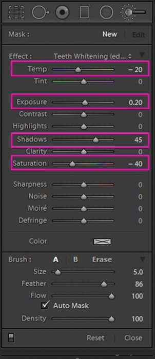 A screenshot showing how to whiten eyes and teeth in Lightroom