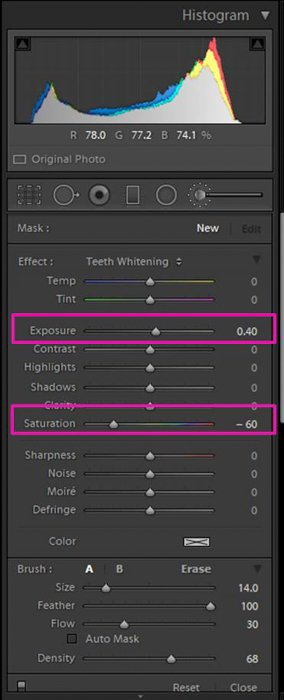 A screenshot showing how to whiten eyes and teeth in Lightroom - Lightroom's teeth whitening preset