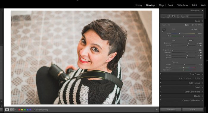 A screenshot showing how to whiten eyes and teeth in Lightroom - portrait photo after editing and white balance correction