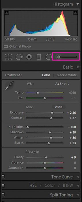 A screenshot showing how to locate and select the Adjustment Brush Tool in Lightroom - how to whiten teeth in Lightroom