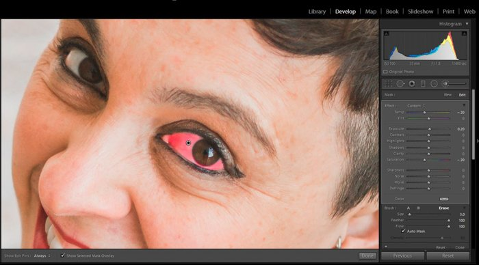 A screenshot showing how to whiten eyes in Lightroom