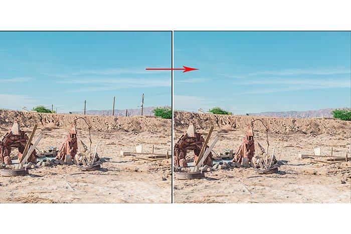 在Lightroom中使用Spot Removal前后显示景观图像的分屏