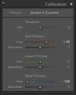 a screenshot of how to create the teal and orange look with the sliders in the HSL panel.