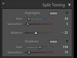 a screenshot of how to create the teal and orange look with split toning in Lightroom