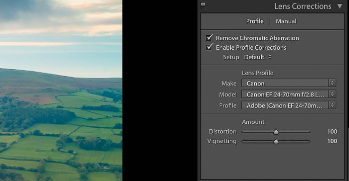 A screenshot showing how to edit landscape photos in Lightroom