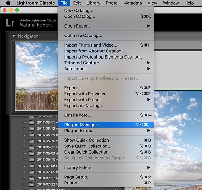 a screenshot showing how to move lightroom to a new computer - plug-in manager