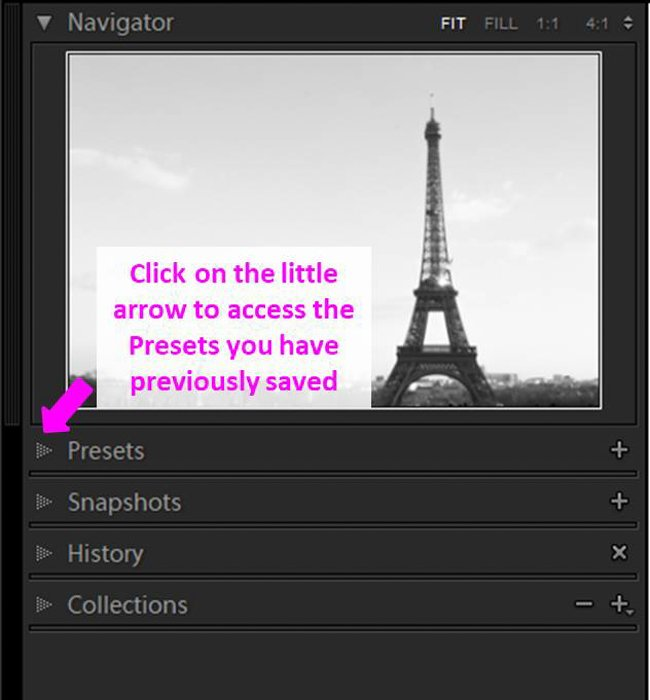 A screenshot showing how to save a sepia tone preset in Lightroom