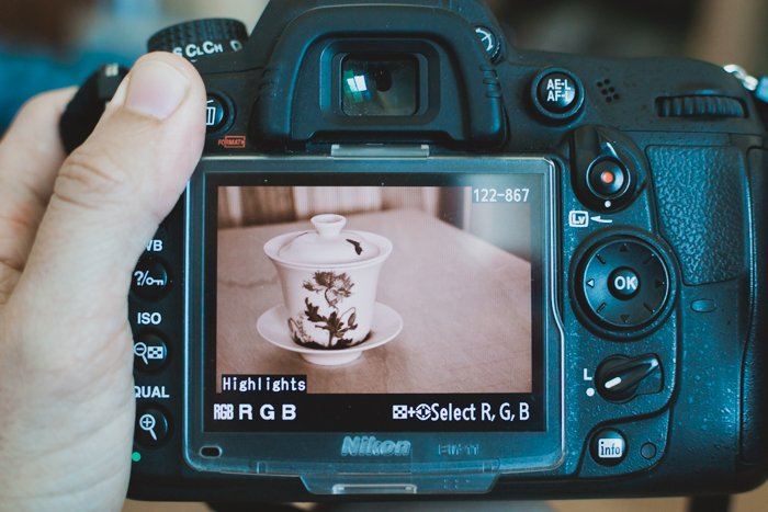 a close up of reviewing a sepia tone still life on a DSLR screen