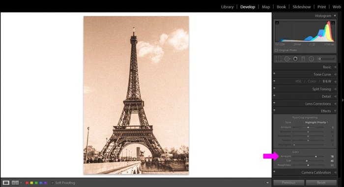 a screenshot showing how to edit a grainy sepia color photo of the Eiffel tower in Paris