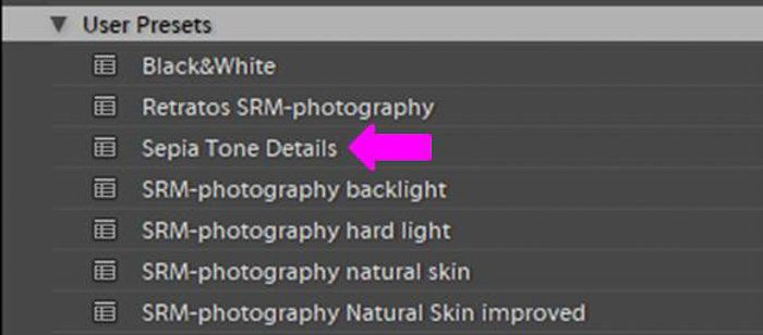 A screenshot showing how to save a sepia preset in Lightroom