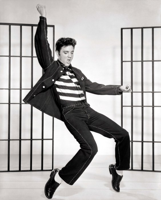 black and white vintage portrait of Elvis dancing