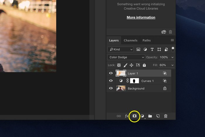 a screenshot showing how to add layer mask in Photoshop