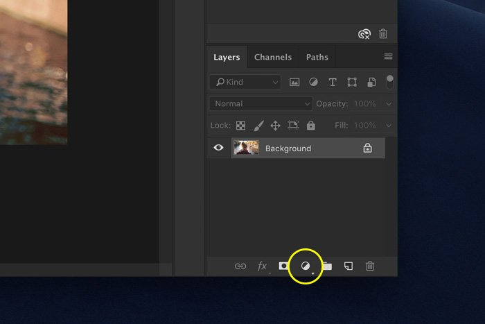 a screenshot showing how to add a new adjustment layer in Photoshop