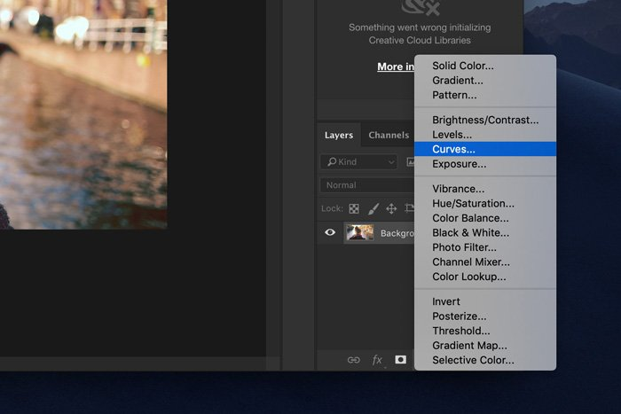 a screenshot showing how to select curves in Photoshop